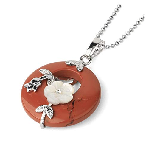 ZAOPP Natural Stone Round Pendants Necklaces Crystal Silver-color Carved Flower Leaf Turquoises Women Trendy Jewelry Accessories (Metal color : Red Jasper)