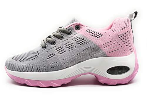 Zapatillas Deportivas para Mujer con Cuña de Camara de Aire Muy Transpirables y Ligeras con Bmabas con Plataforma Moda Deportiva Gris Rosa 37