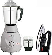 ACTIVA 2 Jars 500 WATT Pluto Full ABS Body Mixer Grinder with Electric Dry Iron (White)