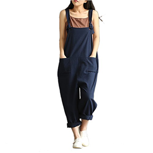 Sumchimamzuk Damen Retro Latzhose Sommerhose Jumpsuits Trousers Bib Pants Chinesisch XXXL/EU L Blau