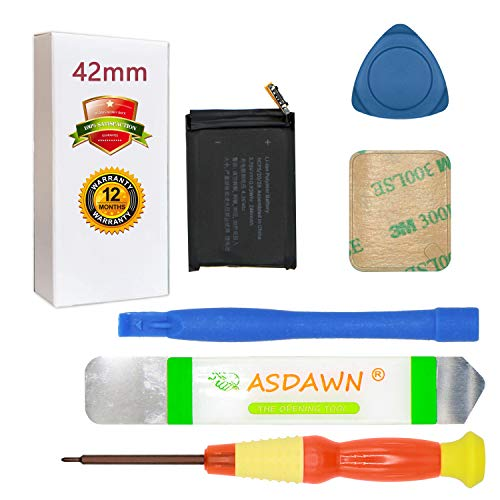 A1579 Battery for A1803 A1554 42mm Apple Watch Series 1 Replacement with Repair Tool Kit + Back Cover Adhesive + Installation Instruction