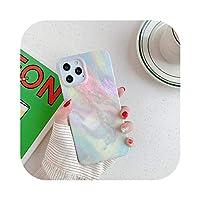 Cvnsla カラフルなマットマーブルストーンテクスチャfor iPhone11 12 Mini Pro Max X XR XS 7 8 Plus SE2020ソフトIMDバックカバー用電話ケース -6601-for iPhone XS