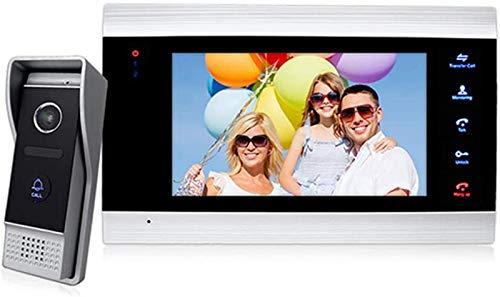 SHKUU Sistema intercomunicación con videoportero - Kit Timbre con Monitor LCD 7 'con cámara IP 65 a Prueba Agua y visión Nocturna, comunicación Dual Manos Libres, para apartamento en casa