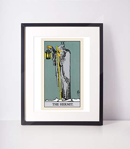The Hermit Traditional Tarot Print/Tarot Card Art/Major Arcana/Tarot Wall Hanging/Rider Waite Tarot