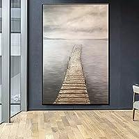 壁の芸術の装飾画 海景ポスターとプリント壁アートキャンバス絵画手描き木製橋の写真リビングルームの家の壁の装飾家の装飾クリスマスプレゼント-50x70cm