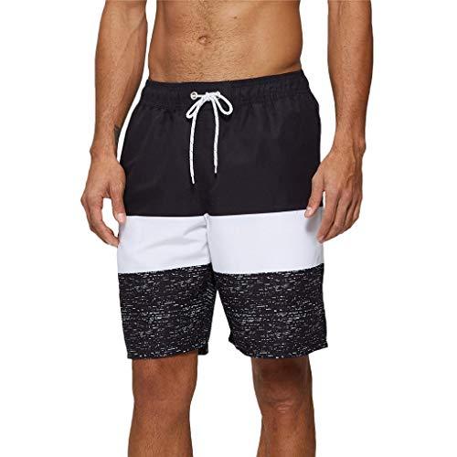 Arcweg Badehose für Herren Lang Mehr Taschen Badeshorts Männer Wasserabweisend Boardshorts Schnelltrocknend Jungen Beachshorts Bermudas mit Tunnelzug Schwarze Streifen L(EU)-MarkeGröße XL