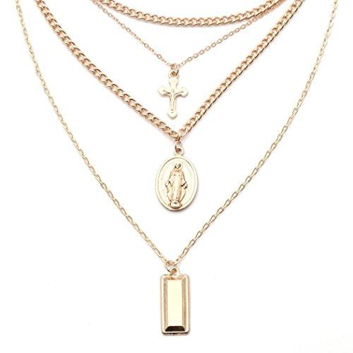 Toamen Collar De Cadena Multi Estilo De Moda Collar Colgante Cruz Virgen MaríA Para Mujer (C)