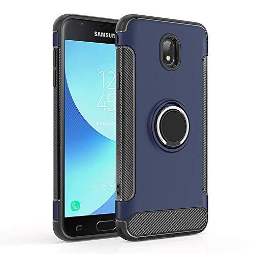 Carcasa compatible con Galaxy J7 2018, soporte de anillo, carcasa protectora de doble capa, antiarañazos, carcasa rígida de silicona rugosa para Galaxy J7 2018 azul Talla única