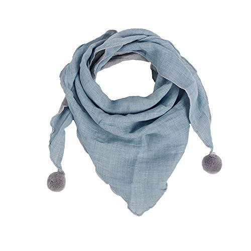 Westeng Kinder Schals Niedlich Dreieck Schal aus Baumwolle mit Haarball, Warmer und Winddicht Halstücher für Winter (Blau)