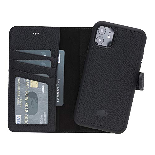"Burkley Case Carson Premium Genuine Leather Magnetic Detachable Snap-on Case Wallet with Flap Closure for Apple iPhone 11 (6.1"") (Pebble Black)"