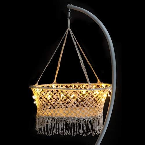 weichuang Columpio de columpio de cuerda para dormir, cama mecedora al aire libre de algodón para...