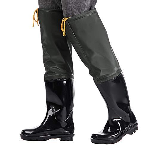 QTDZ Trampolieri Super Alti Addensati Uomo Donna Pantaloni da Acqua Stivali Multiuso in Gomma da Pioggia Stivali da Pesca Leggeri Resistenti all'Usura Scarpe da Acqua in PVC Antiscivolo,Nero,44 EU
