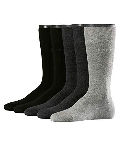 ESPRIT Herren Socken Solid - Baumwollmischung, 5 Paar, Schwarz (Sortiment 30), Größe: 40-46