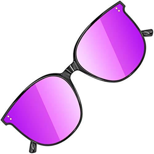ATTCL JD222-Black+Purple - Gafas de sol para mujer (montura TR90, lente de nailon HD, ultraligeras, con efecto espejo), color negro y morado