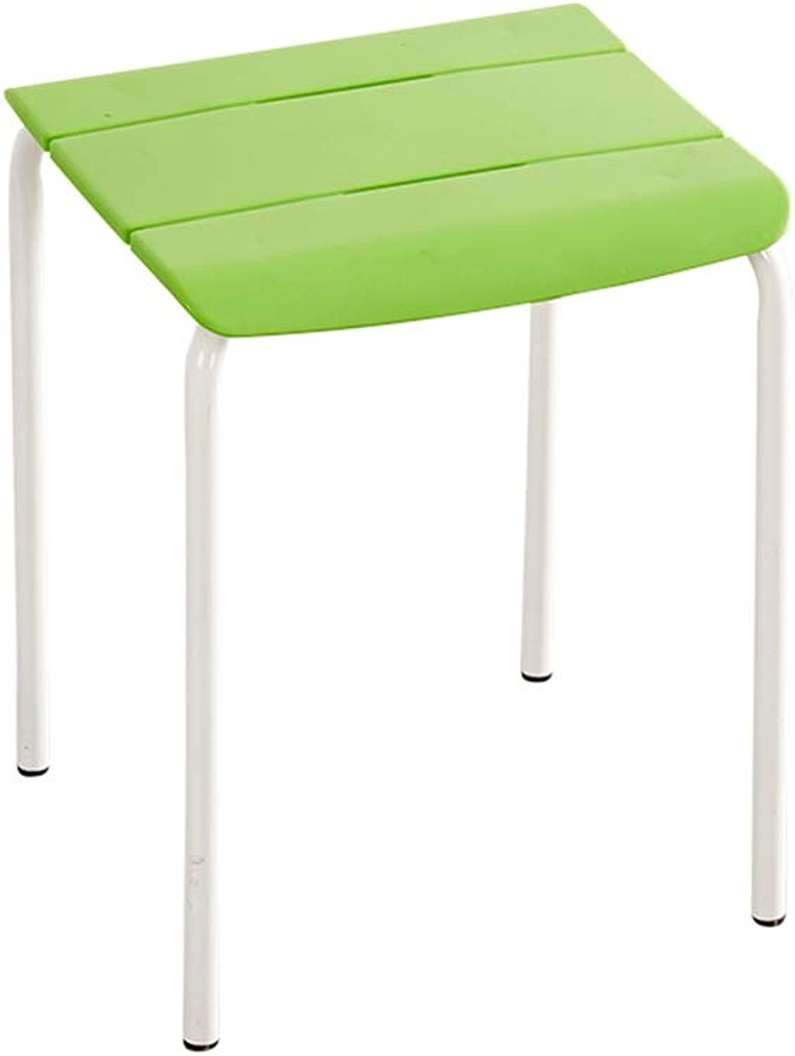 Easy to Store Stools, Square Stool color Stool Bedroom Stool Home Stool Student Stool Office Stool Stackable Stool (color   Green)