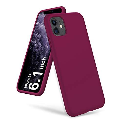 ORNARTO Silikon Hülle für iPhone 11, Verstärkte Stoßfeste Flüssige Silikon Gel Gummi Ganzkörper Schutz Stoßstange Abdeckungs Handyhülle für iPhone 11 (2019) 6,1 Zoll-Weinrot