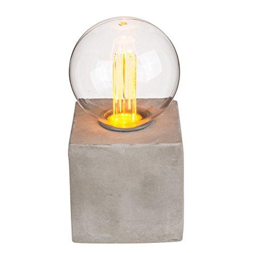 Deko-Leuchte, Retro Glühlampe mit LED auf Zementsockel
