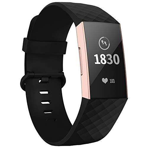 WASPO Compatible con Fitbit Charge 4/Charge 3 Correa Special Edition, Correa de Repuesto clásica Ajustable con Hebilla de aleación de Aluminio clásica (01 Negro, Pequeño (muñeca de 5.5