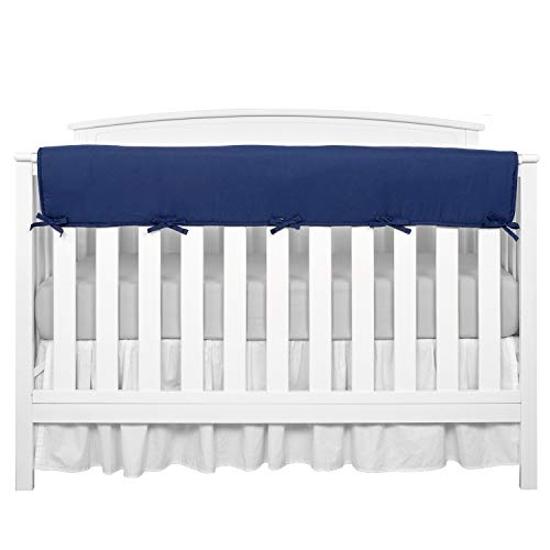 TILLYOU 1-Pack Padded Baby Crib Rail Cover Protector Safe Teething Guard Wrap for Long Front Crib Rails(Measuring Up to 18