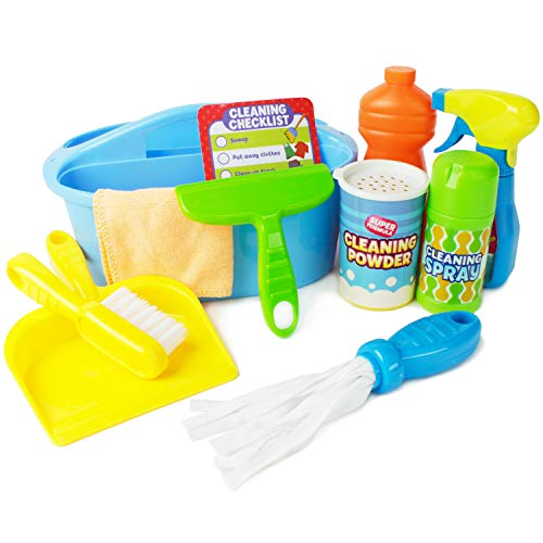Boley Pretend Play Cleaner's Caddy - Cleaning Supplies Play Set for Toddler Education and Learning Development - Easy to Carry and Kid Friendly!