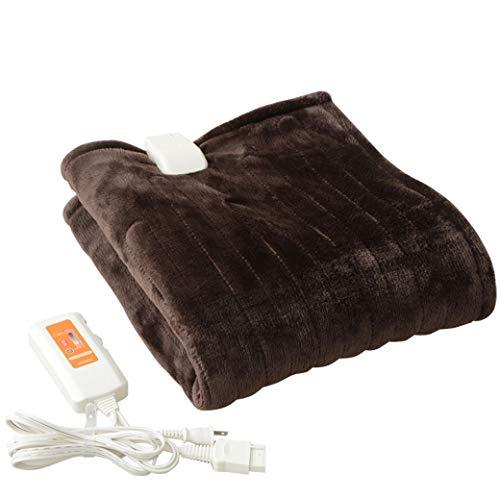 [山善] ふわふわもこもこ 電気ひざ掛け毛布 (丸洗い可能) 120×60cm 表面フランネル 裏面プードルタッチ仕上...