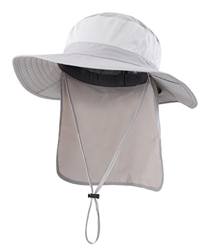Home Prefer Mens Sun Hat with Flap Summer Neck Cover Foldable Fishing Cap Wide Brim Sun Protection Hat Light Gray
