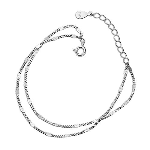BENGKUI Women'S 925 Sterling Silver Bracelet,Fashion Sweet Double Chain Layer Bracelet For Women Wedding Fine S925 Jewelry Gift Charm Bracelets For Women Birthday Gifts For Mum Wife