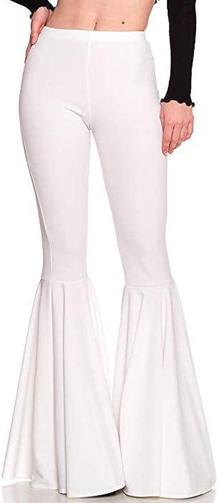 GUOLEZEEV Denver Mall Women High Waisted Flare Ple Color Dedication Solid Fashion Pants