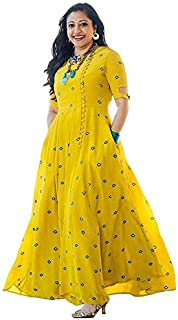 Fashioto Women's Viscose Long Embroidered Mirror Kurti (Yellow, Medium)