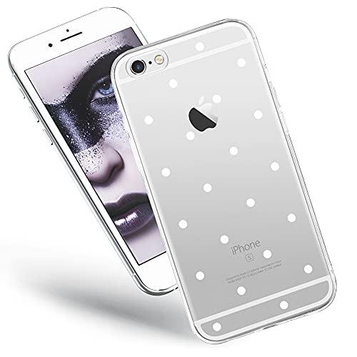 QULT Handyhülle kompatibel mit iPhone 6 iPhone 6s Hülle transparent mit Motiv dünn durchsichtig Slim Silikon Hülle weiße Punkte