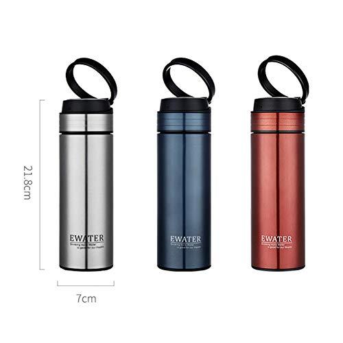 MLPNJ fles, leeg, voor bedrijven, borosilicaatglas, thermosfles, roestvrij staal, mokken, theefilter, draagbaar, 320 ml