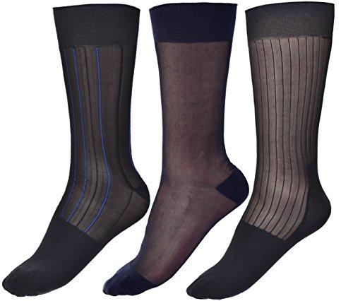 Cityelf 3 Paare Dünne Socken Seide Schier Socken anziehen Mitte der Wade Seidensocken Arbeitssocken für Herren (J, Einheitsgröße)