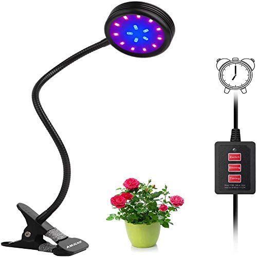 UPGRADED Auto On/Off Timing Function Grow light 16LED 5 Dimmable Levels Spectrum for Indoor Plants with 360 Degree Adjustable Hydroponics Greenhouse Gardening