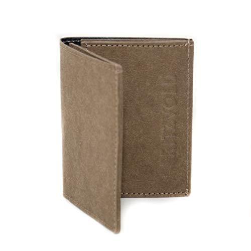 FRITZVOLD Tiny Wallet mit RFID-Schutz & Münzfach, extrem kleines, dünnes Portemonnaie für Herren & Damen, Slim Wallet, flaches Mini-Portmonee, Geldbeutel aus Papier-Kunstleder, braun