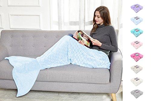 DecoKing 31575 Mermaid Flosse Decke 190 cm Microfaser Meerjungfrau Sirene Fischschwanz Mikrofaser Kuscheldecke Fleece Schlafsack kuschelig warm hellblau blau Babyblue Siren