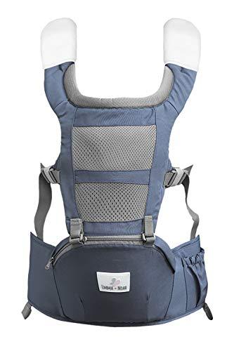 emma & noah mochila portabebés ergonomica, adaptada para bebés y padres (recomendado para 6 a 36 meses de edad), color: gris, ideal como porteo bebé, porta bebe, baby carrier, saco portabebe