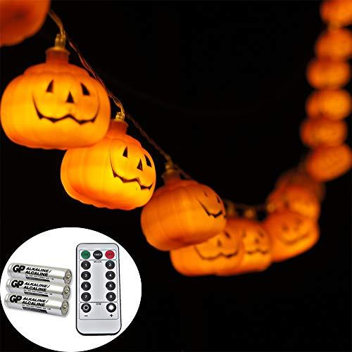 【 単三電池付属 リモコン付属 点灯パターン8種類 】WhiteLeaf ハロウィン 装飾 飾り ライト カボチャ ...