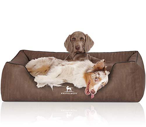 Knuffelwuff 14183-011 Tampa - Cama ortopédica para Perros (Piel sintética Acolchada con láser, tamaño XXL, 120 x 85 cm, 8,2 kg), Color marrón