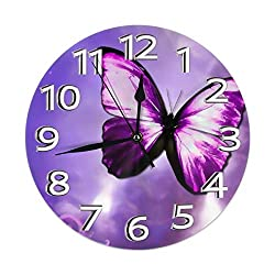 ZYZILYSBS 10 Inch Silent Non Ticking Wall Clock Purple Butterfly Art Decorative Indoor Kitchen Living Room Office Round Modern Number Clock