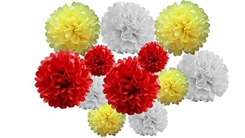 12 stuks gemengde pompons van zijdepapier voor het ophangen van slingers voor bruiloften, feesten (rood/geel, 20 cm en 25 cm).