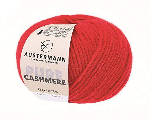 Austermann Pure Cashmere Fb. 3 rot, Kaschmirwolle 100% Kaschmir zum Stricken oder Häkeln