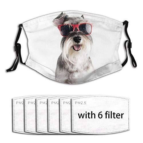 SfeatrutMAT Happy Funny Cool Dog Schnauzer con gafas de sol rojas aisladas sobre fondo blanco, protector bucal lavable Ma-sk con suave transpirable al aire libre/deportes/motor/