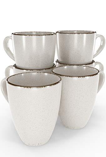 Tassen Set 6-tlg. - Kaffeetassen Set in Trendy Rustikalem Design in Beige - Spülmaschinenfeste Porzellan Tassen - Moderne Kaffeetassen 6er Set - Kaffeebecher Porzellan von Pure Living