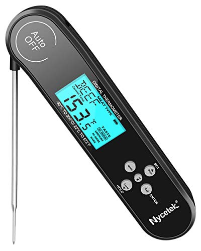 [Recommended by ACF Chef] Nycetek Digital Instant Read Meat Thermometer for Grilling Best Waterproof Kitchen Cooking Food Barbecue Meat Thermometer for Candy Oil BBQ Grill Smoker Oven Safe Magnet