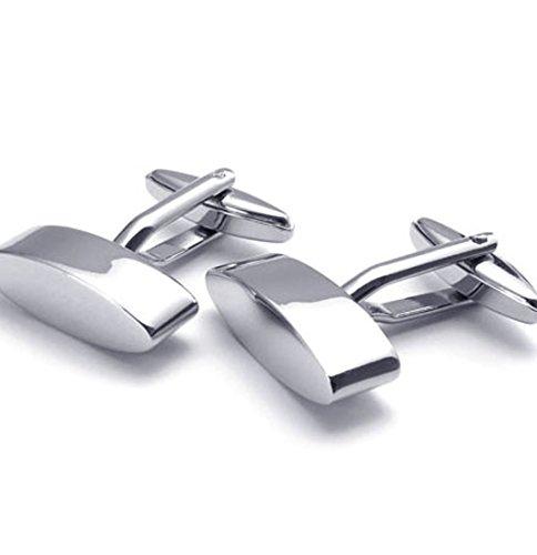 PW 高品質チタン&ステンレス カフスボタン 22056 シルバー(銀色) 【ラッピング対応】