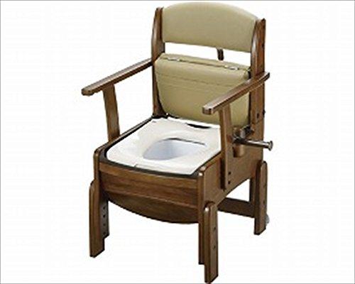 リッチェル 木製トイレ きらく コンパクト 固定式肘掛けタイプ 普通便座