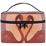 Bolsa de cosméticos, Flamingos Valentine 's Travel Makeup Organizer Bag Estuche de cosméticos Estuche de Tren portátil