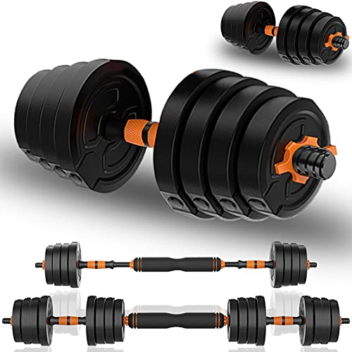 Deliny Adjustable Dumbbells Weight Set, Weights Dumbbells Set with Connecting Rod can be Used as Barbells, Free Weights 2-in-1 Set, Gym Equipment for Home Training Suitable for Men and Women(44lbs)