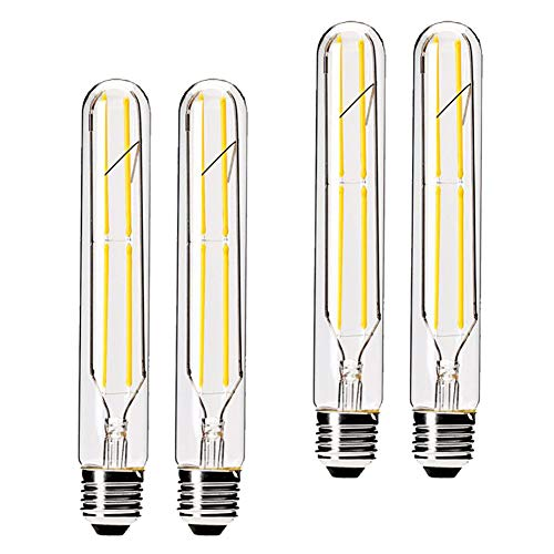 Dimmable 6W Tubular LED Bulbs, 3000K Warm White,Edison Style Filament Light Bulb, T10 Vintage Bulb 60 Watt Equivalent, E26 Medium Base 550LM,Clear Glass Cover, 7.3in(185mm),4-Pack