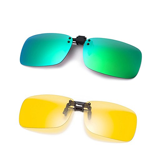 Cyxus [2パック]クリップオンサングラス 1偏光レンズと1夜用 デザインレンズ UV400 運転・釣り・スキー・自転車・戸外活動用 超軽量 男女兼用(グリーン+イエロー)
